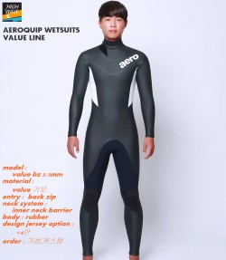 AEROQUIP value  back zip inner neck  남녀공용    3/2mm